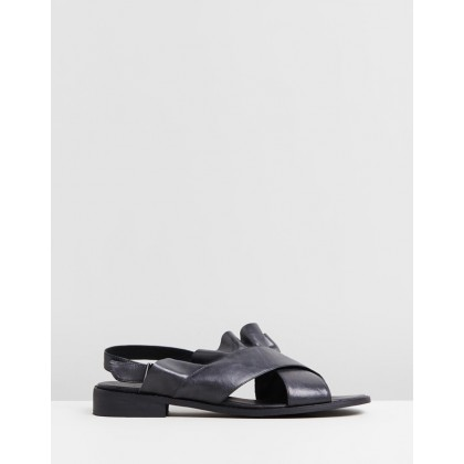 Eloise Leather Ruffle Sandals Black by Walnut Melbourne