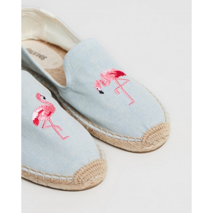 Embroidered Smoking Slippers Chambray by Soludos