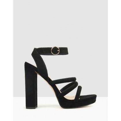 Emma Platform Heeled Sandals Black by Betts