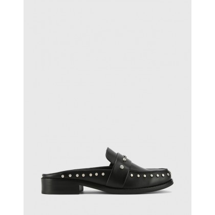 Emsley Studded Flat Mules Black by Wittner