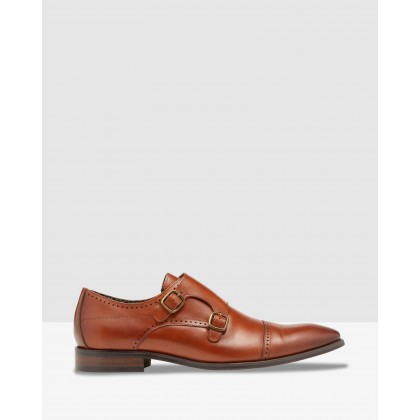 Enrique Leather Monk Shoes Cognac Firenze by Oxford