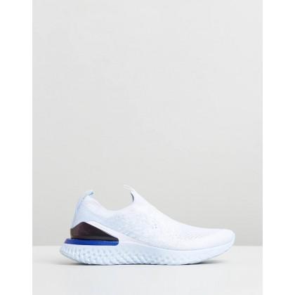 Epic Phantom React Flyknit - Women's White, Hydrogen Blue & Blue Tint by Nike