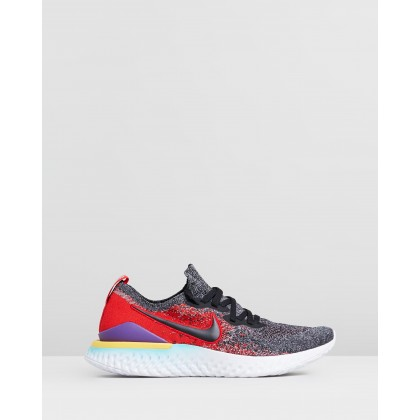 Epic React Flyknit 2 - Men's Black, Hyper Jade & University Red by Nike