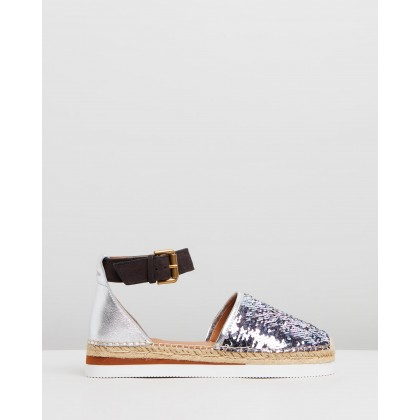 Espadrille Flatform Sandals Silver by See By Chlo??