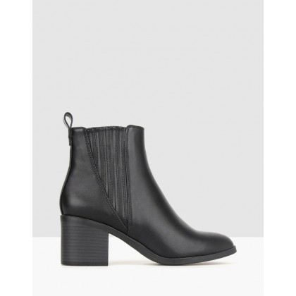 Essence Block Heel Ankle Boots Black by Betts