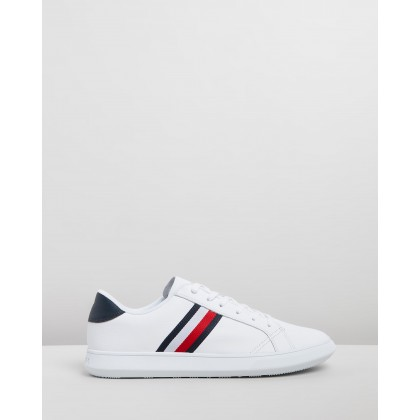 Essential Leather Cupsole Sneakers White & Midnight by Tommy Hilfiger