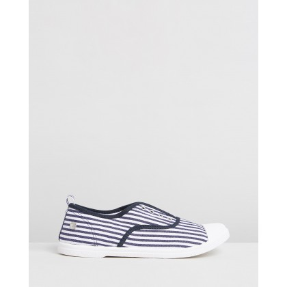 Euro Plimsoles Navy & White Stripe by Walnut Melbourne