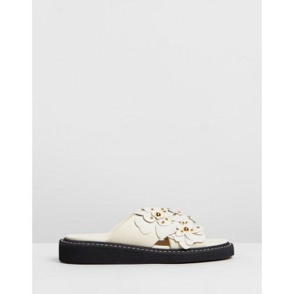 Fabric Flat Sandals Butter by See By Chlo??
