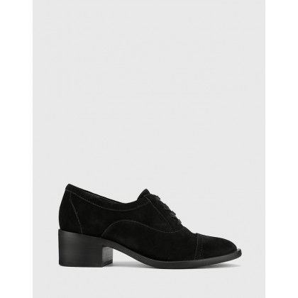 Fallow Block Heel Lace Up Brogues Black by Wittner