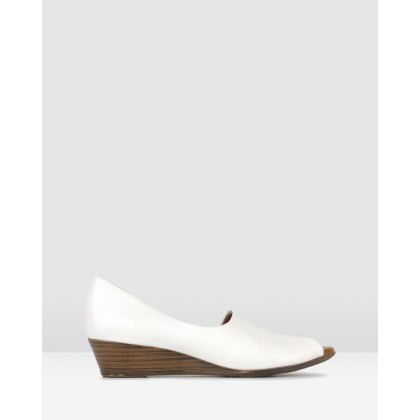 Farrah Leather Peep Toe Wedges White by Airflex