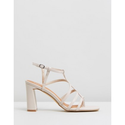 Farrah Strappy Toe Post Heels Nude Smooth by Rubi