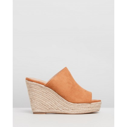 Faux Suede Espadrille Wedges Tan by Missguided