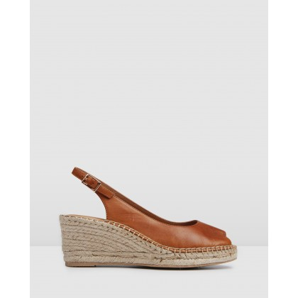 Favela Wedge Espadrilles Dark Tan by Jo Mercer