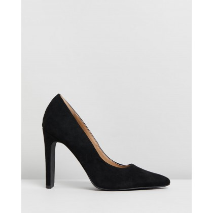 Felicia Heels Black Microsuede by Spurr