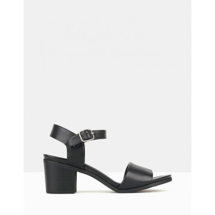 Felicity Block Heel Sandals Black by Airflex