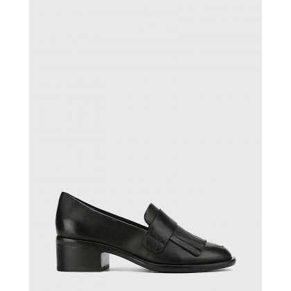 Fernley Leather Tassel Almond Toe Loafers Black by Wittner