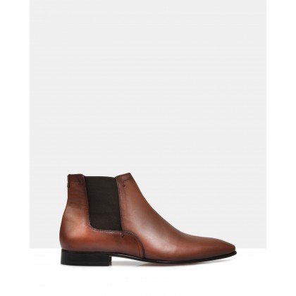Finn Leather Ankle Boots Brown by Brando