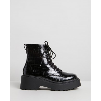 Fizz Ankle Boots Black Croc by Dazie