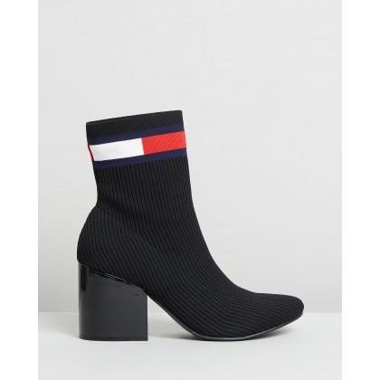 Flag Heeled Sock Boots Black by Tommy Hilfiger