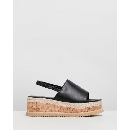 Flatform Cork Sole Slingback Sandals Black by Missguided