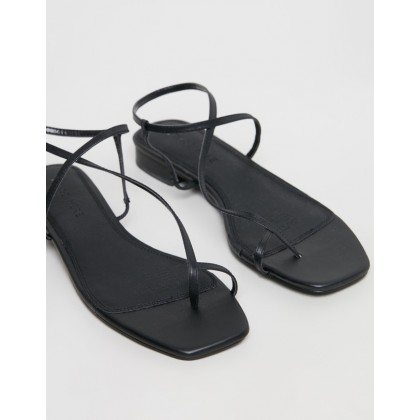 Florence Leather Sandals Black Leather by Atmos&Here