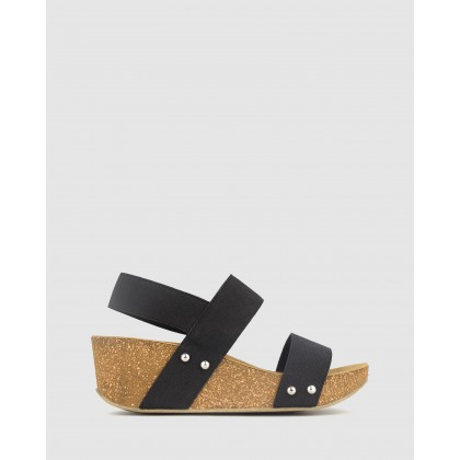 Fluid Cork Wedge Sandals Black by Airflex