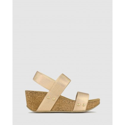 Fluid Cork Wedge Sandals Nude Metallic by Airflex