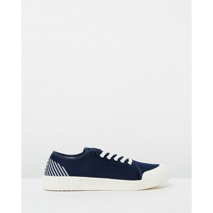Flyknit Gamer Low Navy Stripe by Good News