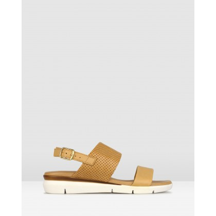 Francesca Leather Wedge Sandals Tan by Airflex