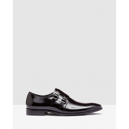 Fredricho Hs Leather Monk Shoe Black by Oxford