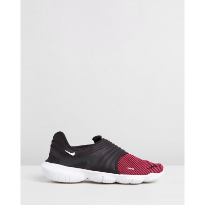 Free RN Flyknit 3.0 - Men's Black, Bright Crimson & White by Nike