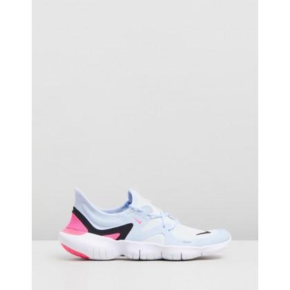 Free Run 5.0 - Women's White, Black, Half Blue & Hyper Pink by Nike