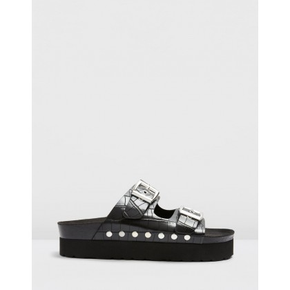 Freya Vegan Footbed Sandals Black by Topshop