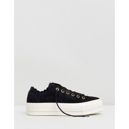 Frilly Thrills Lift Ox - Women's Black, Gold & Egret by Converse