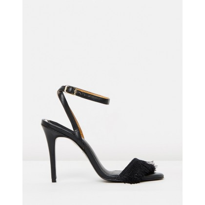 Fringe Leather Stilettos Black by Jaggar The Label