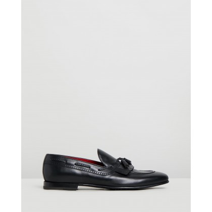 Fringe Tassel Loafers Black Leather by Barrett