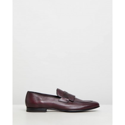 Fringed Penny Loafers Burgundy Elk Leather by Barrett