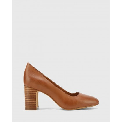 Gale Leather Square Toe Block Heels Brown by Wittner