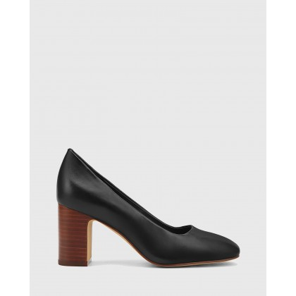 Gale Leather Square Toe Block Heels Black by Wittner