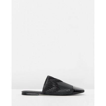 Gallia Black Leather & Raffia by Sigerson Morrison