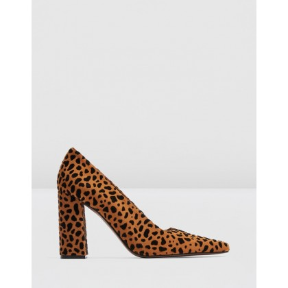 Geena Block Court Shoes Leopard by Topshop