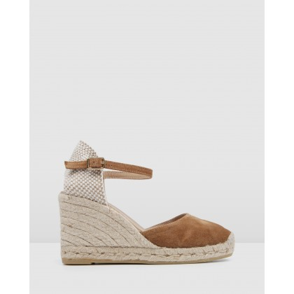 Gemma High Heel Wedge Espadrilles Camel Suede by Jo Mercer