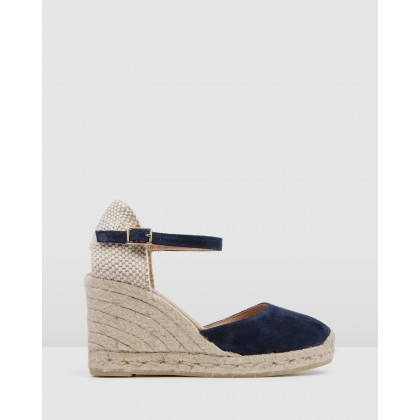 Gemma High Heel Wedge Espadrilles Navy Suede by Jo Mercer