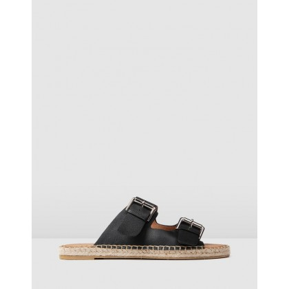 Gemmi Casual Flat Slides Black Leather by Jo Mercer