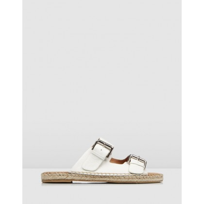 Gemmi Flat Espadrille Slides White Leather by Jo Mercer