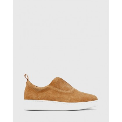 George Suede Leather Slip On Sneakers Beige by Wittner