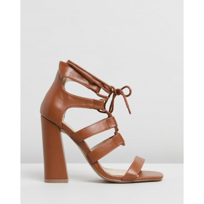 Ghille Flared Block Sandal Heels Tan by Missguided