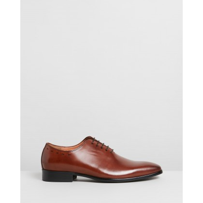 Gibbs Leather Oxford Shoes Dark Tan by Double Oak Mills