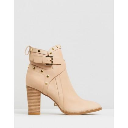 Gigi Leather Strap Boots Blush by Walnut Melbourne
