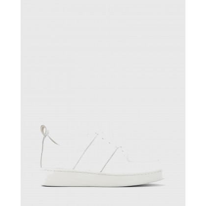 Gino Smooth Croc Leather Lace Up Sneakers White by Wittner